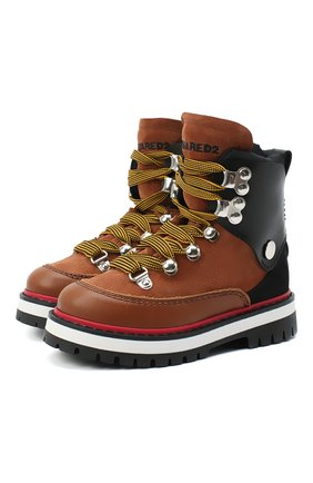 Детские кожаные ботинки DSQUARED2 коричневого цвета, арт. 65198/RUNNER/28-35   Фото 1 (Материал внешний: Текстиль; Кросс-КТ: хайкеры; Материал утеплителя: Натуральный мех)