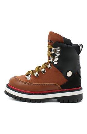 Детские кожаные ботинки DSQUARED2 коричневого цвета, арт. 65198/RUNNER/28-35   Фото 2 (Материал внешний: Текстиль; Кросс-КТ: хайкеры; Материал утеплителя: Натуральный мех)