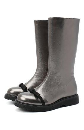 Детские кожаные сапоги MONTELPARE TRADITION серого цвета, арт. MT14164/TENDER/28-35   Фото 1