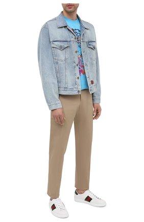 Мужские кожаные кеды new ace GUCCI белого цвета, арт. 386750/A3830 | Фото 2