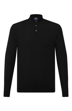 Мужское шерстяное поло FEDELI черного цвета, арт. 3UI07129   Фото 1