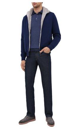 Мужское шерстяное поло FEDELI синего цвета, арт. 3UI07129 | Фото 2