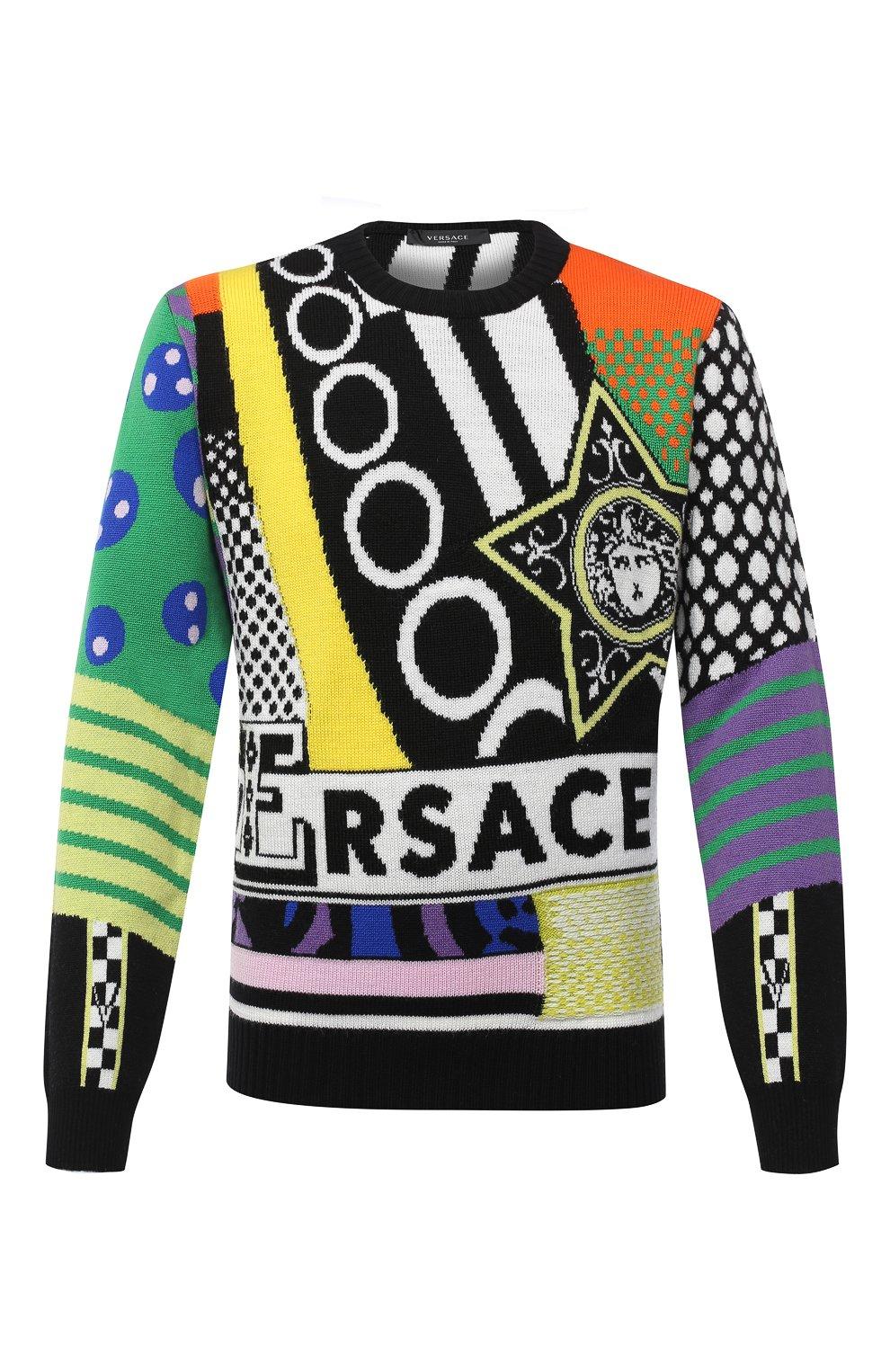 Мужской шерстяной свитер VERSACE разноцветного цвета, арт. A86458/A235937 | Фото 1