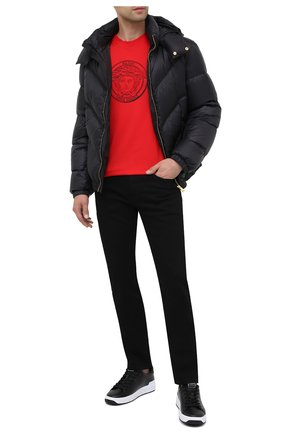 Мужская хлопковая футболка VERSACE красного цвета, арт. A87381/A228806 | Фото 2