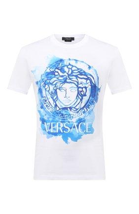 Мужская хлопковая футболка VERSACE белого цвета, арт. A87383/A228806 | Фото 1