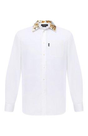 Мужская хлопковая рубашка VERSACE белого цвета, арт. A87411/A232105 | Фото 1