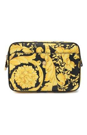 Мужская кожаная поясная сумка VERSACE желтого цвета, арт. DFB8075/DVTS26   Фото 1