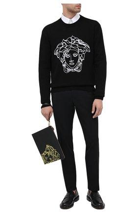 Мужская кожаная борсетка VERSACE черного цвета, арт. DP87631/DVTG4M | Фото 2