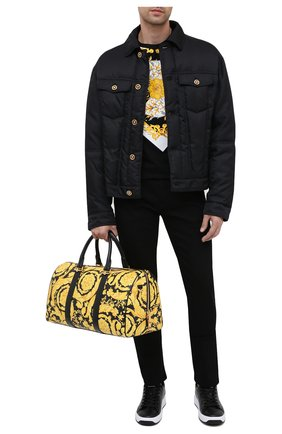 Мужская кожаная дорожная сумка VERSACE желтого цвета, арт. DV28068/DVTS26   Фото 2