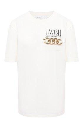 Женская хлопковая футболка ALEXANDER WANG белого цвета, арт. 1CC2201380 | Фото 1