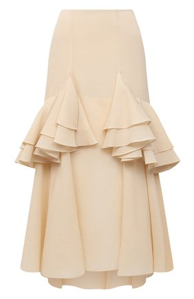 Женская хлопковая юбка TOTÊME кремвого цвета, арт. C0JA 203-302-704 | Фото 1