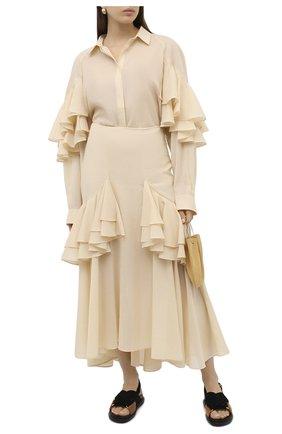 Женская хлопковая юбка TOTÊME кремвого цвета, арт. C0JA 203-302-704 | Фото 2