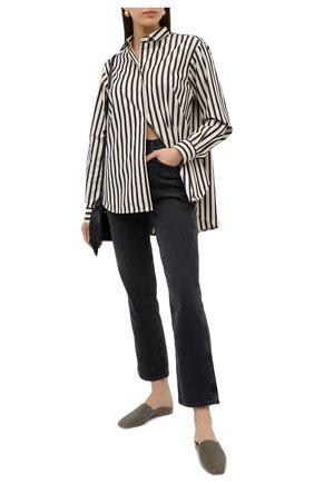 Женская хлопковая рубашка TOTÊME черно-белого цвета, арт. CAPRI 203-708-716 | Фото 2