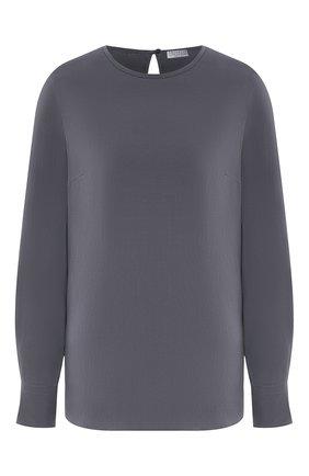 Женская шелковая блузка BRUNELLO CUCINELLI темно-серого цвета, арт. MF948DA110 | Фото 1