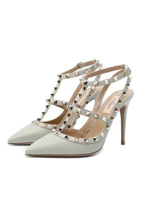 Женские кожаные туфли valentino garavani rockstud VALENTINO светло-серого цвета, арт. UW2S0393/VCE | Фото 1