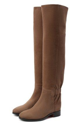 Женские замшевые ботфорты SANTONI светло-коричневого цвета, арт. WSNH58822BJ2NMGDM60   Фото 1