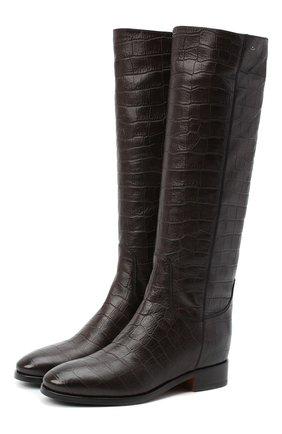 Женские кожаные сапоги SANTONI коричневого цвета, арт. WSNH58900BJ2NE00T50   Фото 1
