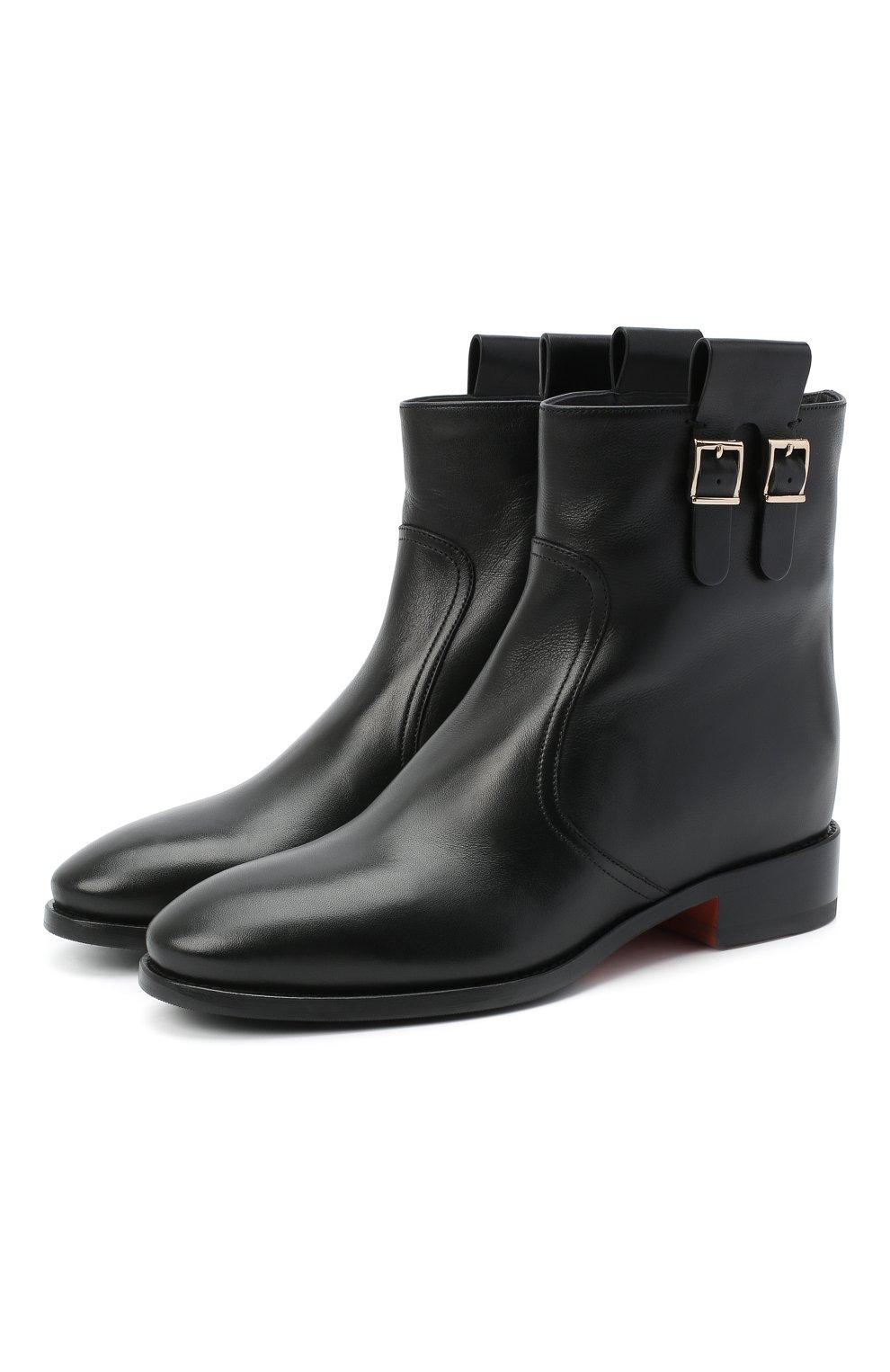 Женские кожаные ботинки SANTONI черного цвета, арт. WTNH58839BJ2NLGAN01   Фото 1