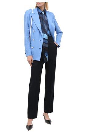Женская шелковая блузка KITON синего цвета, арт. D48407K05T81   Фото 2
