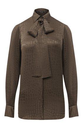 Женская шелковая блузка KITON хаки цвета, арт. D48407K05T65 | Фото 1