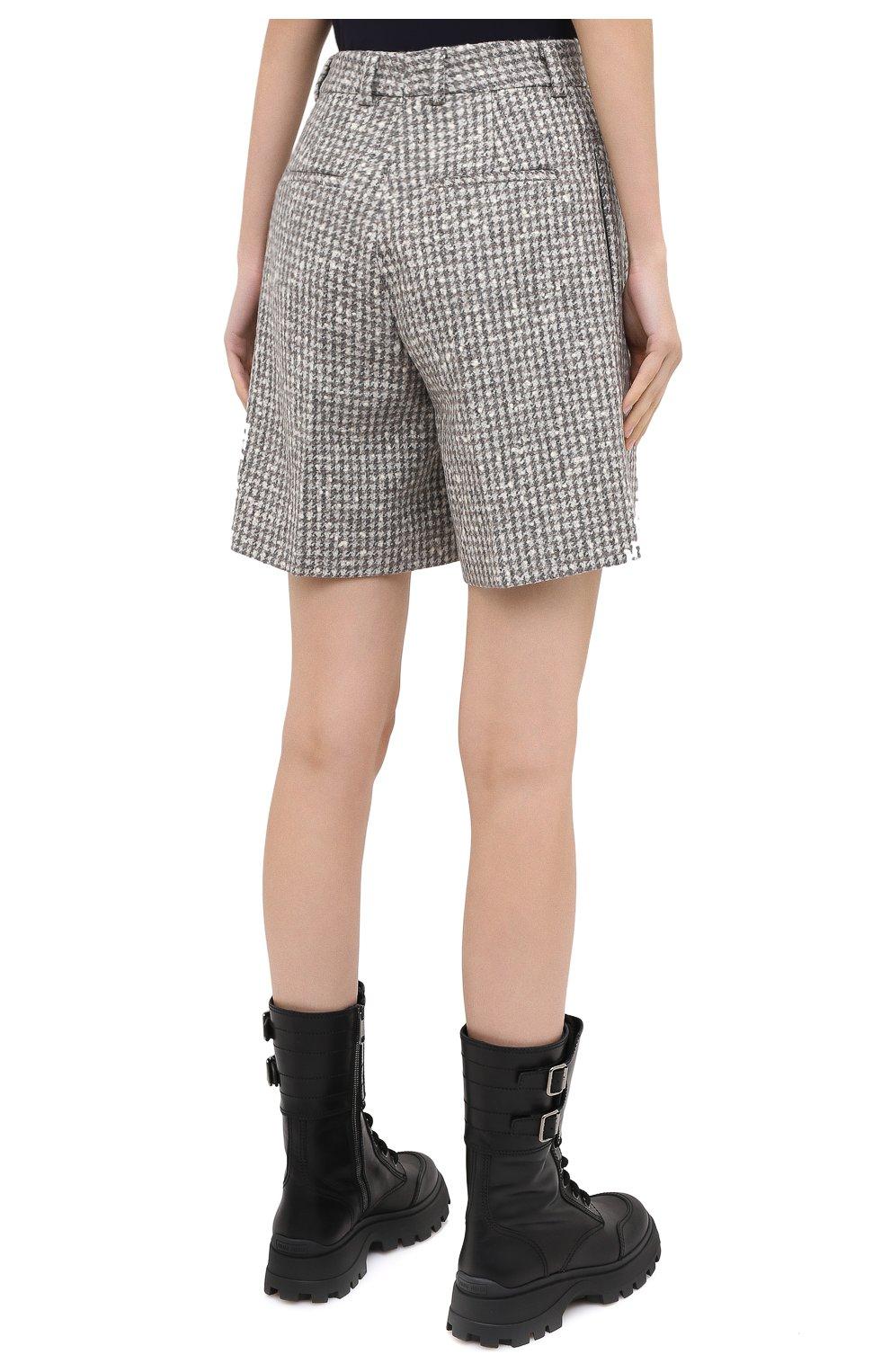 Женские шерстяные шорты KITON серого цвета, арт. D48107K05T24 | Фото 5 (Женское Кросс-КТ: Шорты-одежда; Материал внешний: Шерсть; Длина Ж (юбки, платья, шорты): Мини; Стили: Классический)