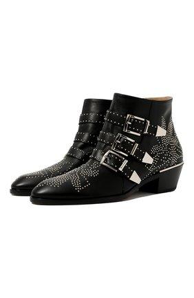 Женские кожаные ботинки susanna CHLOÉ черного цвета, арт. CHC16A13475 | Фото 1