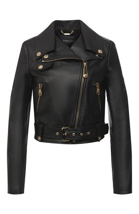 Женская кожаная куртка VERSACE черного цвета, арт. A87441/A210037 | Фото 1