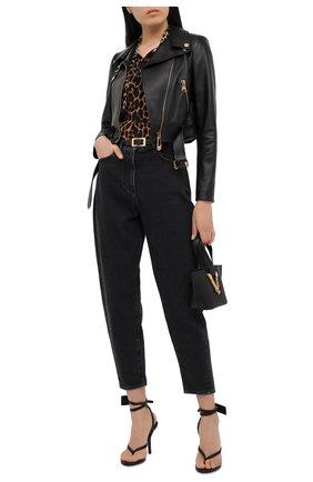 Женская кожаная куртка VERSACE черного цвета, арт. A87441/A210037 | Фото 2