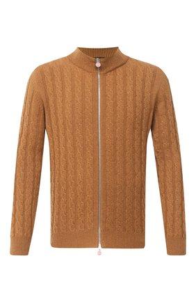 Мужской кашемировый кардиган KITON светло-коричневого цвета, арт. UK1019 | Фото 1 (Рукава: Длинные; Материал внешний: Шерсть, Кашемир; Длина (для топов): Стандартные; Стили: Классический; Мужское Кросс-КТ: Кардиган-одежда)