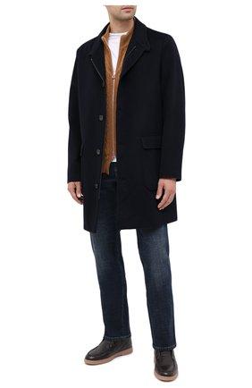 Мужской кашемировый кардиган KITON светло-коричневого цвета, арт. UK1019 | Фото 2 (Рукава: Длинные; Материал внешний: Шерсть, Кашемир; Длина (для топов): Стандартные; Стили: Классический; Мужское Кросс-КТ: Кардиган-одежда)