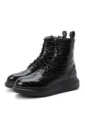 Женские кожаные ботинки ALEXANDER MCQUEEN черного цвета, арт. 633922/WHY20 | Фото 1