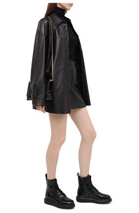 Женские кожаные ботинки ALEXANDER MCQUEEN черного цвета, арт. 633922/WHY20 | Фото 2