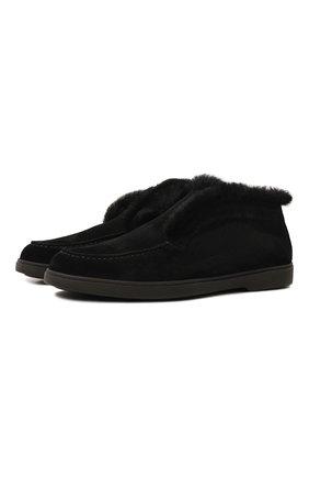 Женские замшевые ботинки SANTONI черного цвета, арт. WUYA58457NERAPFRN01 | Фото 1