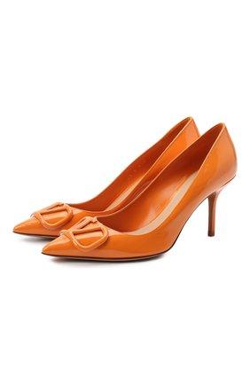 Женская кожаные туфли valentino garavani vlogo VALENTINO оранжевого цвета, арт. UW2S0R78/TMK   Фото 1