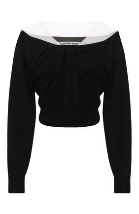 Женский пуловер из шерсти и вискозы ALEXANDER WANG черного цвета, арт. 1KC2201003   Фото 1