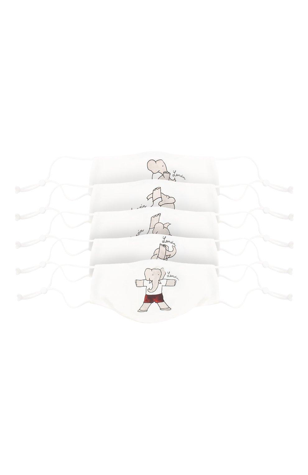 Детского набор из пяти масок для лица LANVIN белого цвета, арт. AW-SI0M00-BGYM-P21 | Фото 1