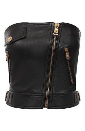 Женский кожаный топ VERSACE черного цвета, арт. A87124/A210037 | Фото 1