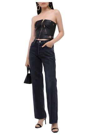 Женский кожаный топ VERSACE черного цвета, арт. A87124/A210037 | Фото 2