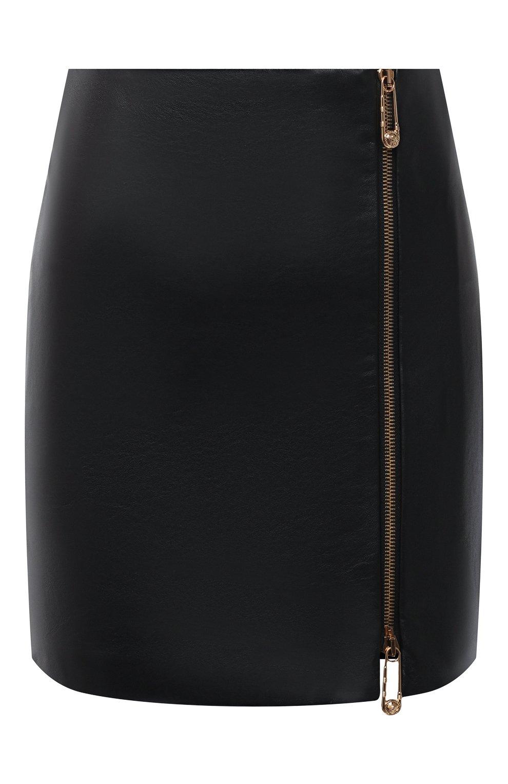 Женская кожаная юбка VERSACE черного цвета, арт. A87222/A234801 | Фото 1