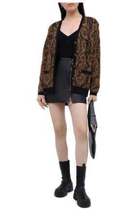 Женская кожаная юбка VERSACE черного цвета, арт. A87222/A234801 | Фото 3