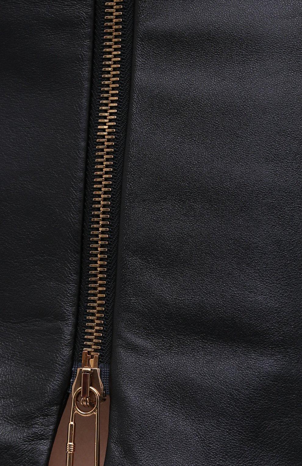 Женская кожаная юбка VERSACE черного цвета, арт. A87222/A234801 | Фото 6