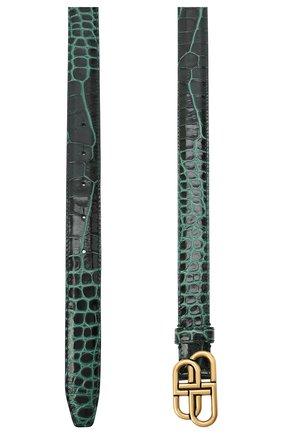 Женский кожаный ремень BALENCIAGA зеленого цвета, арт. 581690/1LR04 | Фото 2