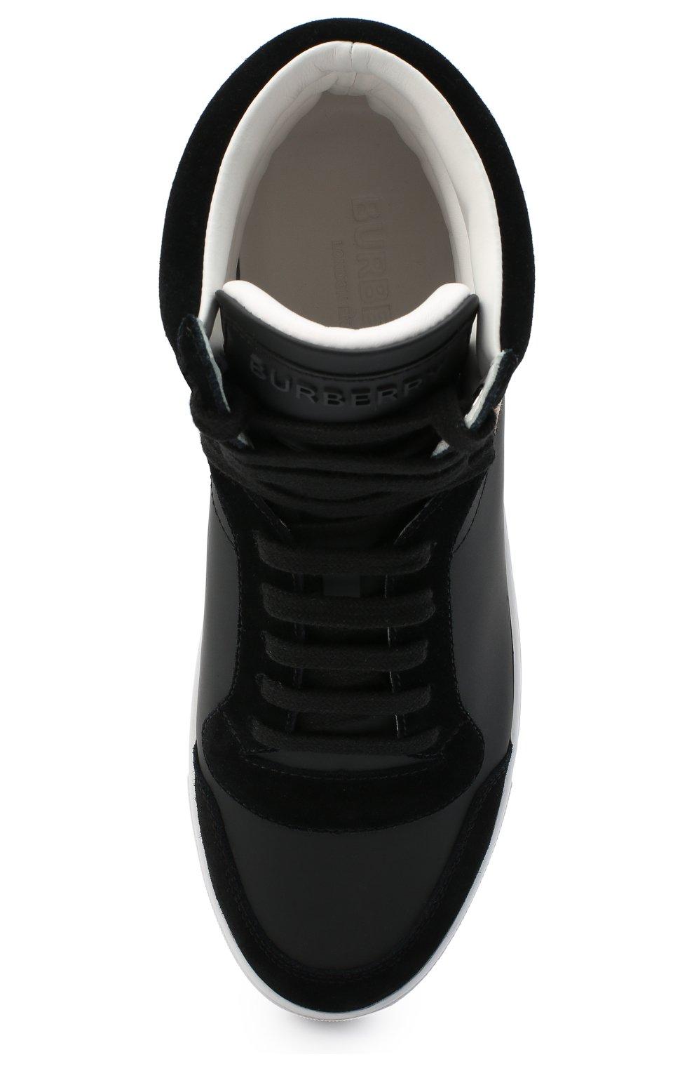 Мужские комбинированные кеды BURBERRY черного цвета, арт. 8024122   Фото 5