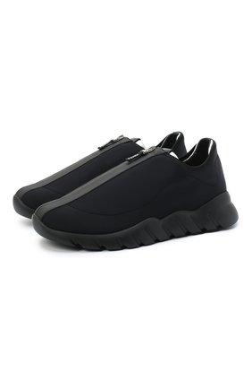 Мужские текстильные кроссовки FENDI черного цвета, арт. 7E1366 AC7B | Фото 1