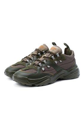 Мужские комбинированные кроссовки valentino garavani afterdusk VALENTINO хаки цвета, арт. UY2S0D52/EIR | Фото 1