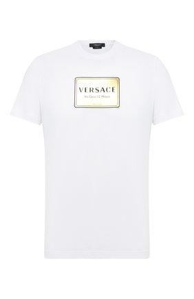 Мужская хлопковая футболка VERSACE белого цвета, арт. A87387/A228806 | Фото 1