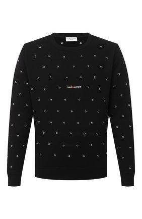 Мужской хлопковый свитшот SAINT LAURENT черного цвета, арт. 632422/YBQZ2 | Фото 1