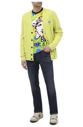 Мужские кожаные кеды screener GUCCI белого цвета, арт. 546163/0YI20 | Фото 2