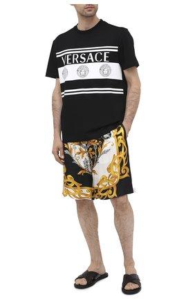 Мужские кожаные шлепанцы VERSACE черного цвета, арт. DSU7871/DVIGEC | Фото 2 (Материал внутренний: Натуральная кожа)