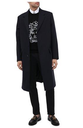 Мужские кожаные лоферы meander VERSACE черного цвета, арт. DSU8208/D60VC   Фото 2